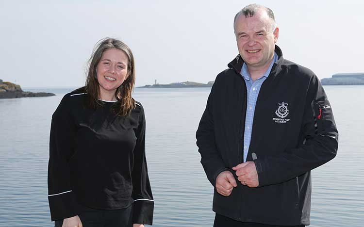 Cabinet Secretary Aileen Campbell with Stornoway Port Authority Chief Executive Alex Macleod