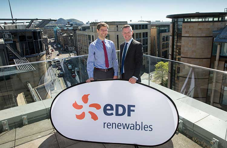 From left - Matthieu Hue, CEO of EDF Renewables and Derek Mackay MSP.