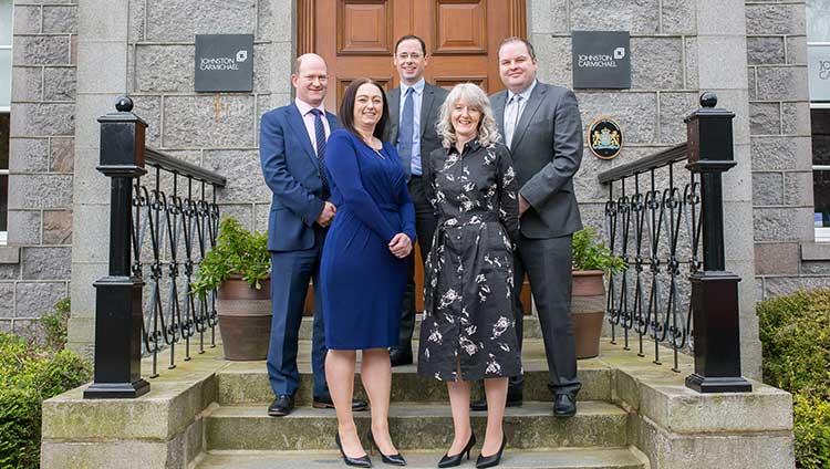 left to right: John Mason (Business Advisory, Glasgow), Lynne Walker (Business Advisory, Elgin), Richard Bathgate (Restructuring, Aberdeen), Nicola Horsburgh (Tax, Elgin), and Stephen McIlwaine (Audit, Aberdeen)