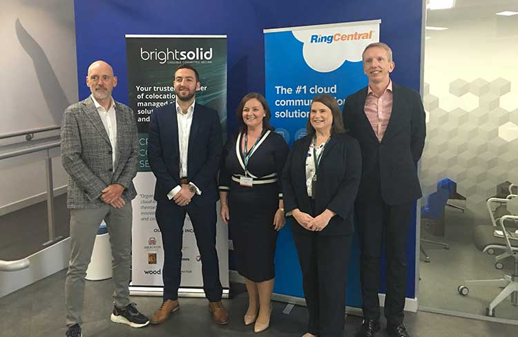 (l-r): Stewart Hale, Senior Regional Channel Manager EMEA at RingCentral, Mark Robertson, Enterprise Sales at RingCentral, Elaine Maddison, CEO of Brightsolid, Vicky Glynn, Product Manager at Brightsolid and Malcolm Smith, Chief Sales Officer at Brightsolid