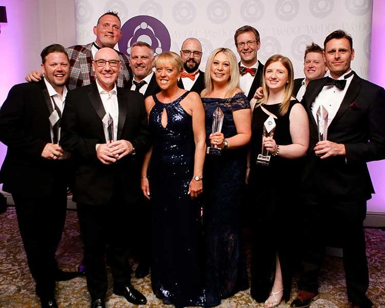 2019 WeDO Scotland Award Winners - from L: to R: Peter Ferguson, Ricky Nicol, Doddie Weir, Alex Brown, Belinda Roberts, Andrew Johnstone, Suzie McCafferty, Andy Tait, Victoria Hamilton, David Hughes & Scott Weir Photo Credit: Edinburgh Photographic 2019