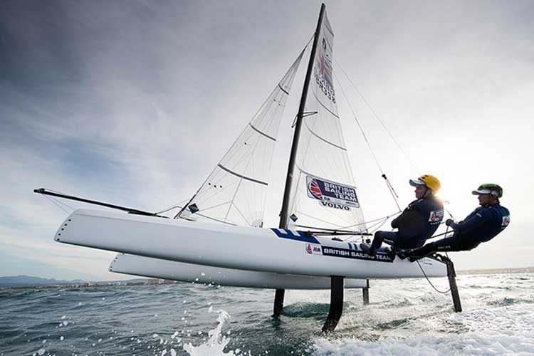 British Sailing Team members Cris Rashley and Laura Marimon race Nacra 17. Pic: Lloyd Images/RYA