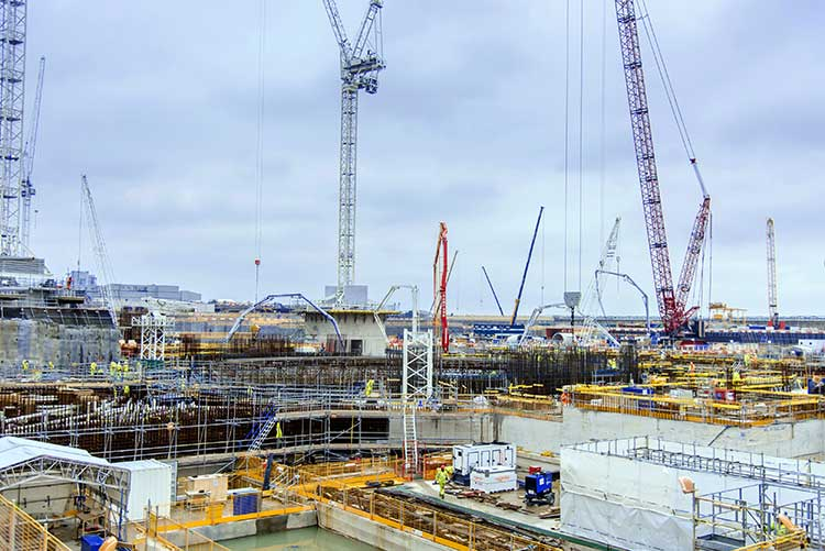 Construction work under way on the nuclear island of Hinkley Point C Unit 1