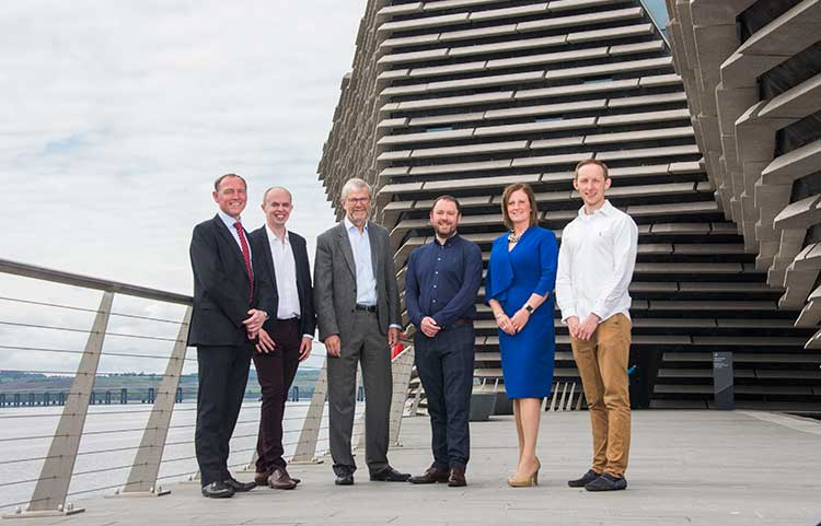 From left - Andrew Walker, Ryan Milne, Sir Pete Downes, Ryan Diplexcito, Jenn Stewart and Andrew McMillan