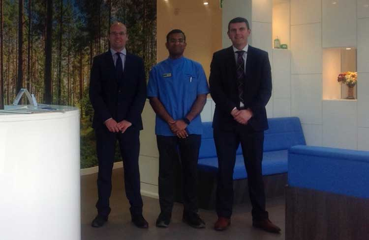 Greg McMIllan from Lombard, Mahesh Raja, founder of M-Brace Orthodontics, and Andrew Scott, senior relationship manager at Royal Bank of Scotland
