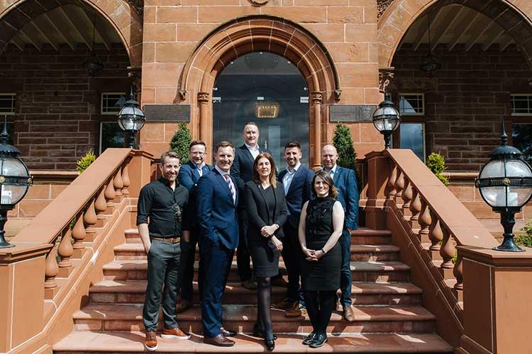 Steve Graham, David Tracey, Kenny Barclay, Scott Macintyre, Carlton Graham, Anthony Cowley, Kathleen Swallow, Juliet Parry at Boclair House, Glasgow