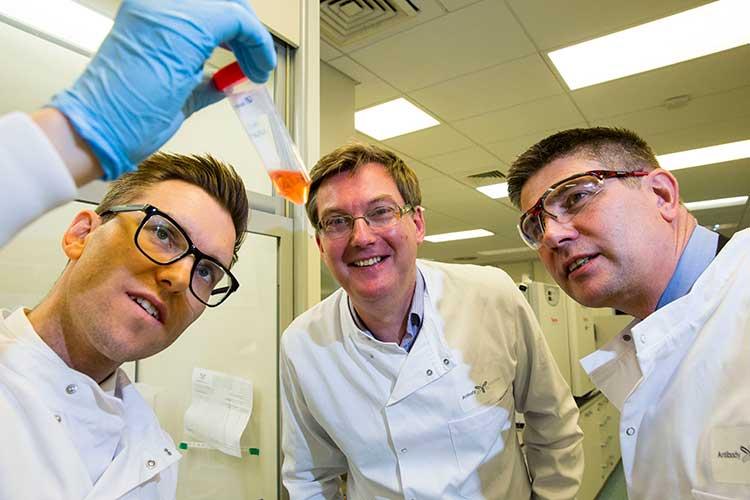From left - Andrew Baron, Antibody Analytics; Scott Webb, UKSE; Simon Hamilton, UKSE