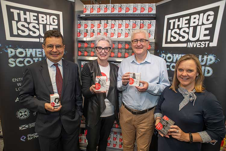 From left - Danyal Sattar, CEO of Big Issue Invest, Celia Hodson, Founder of Hey Girls, Dave Gorman, Director of Social Responsibility and Sustainability at the University of Edinburgh, Amanda Young, Head of Global ESG Investment Research at Aberdeen Standard Investments