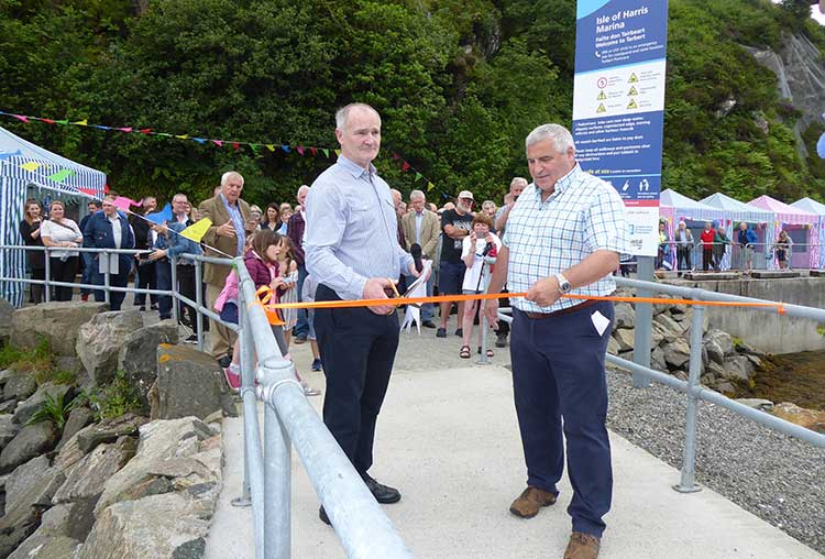Yachtsman Andrew Halcrow (left) with Kenny Macleod, chair of HDL at the official opening. Credit Donald Hodgson/HDL
