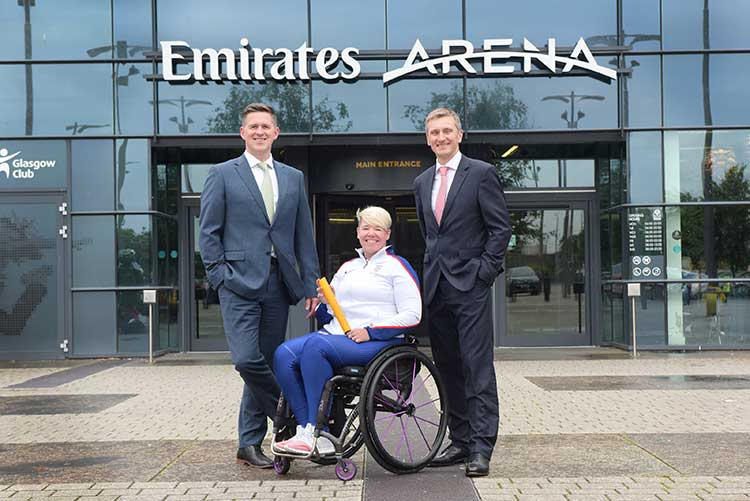 From left - Harper Macleod Chief Executive Martin Darroch, Paralympic gold medallist Jo Butterfield and Interim UK Athletics CEO Nigel Holl