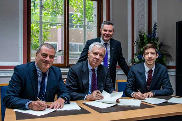 Left to right - Steve Dunlop, Jérôme Monsaingeon, Derek Mackay and John Alexander at the signing of the original MOU