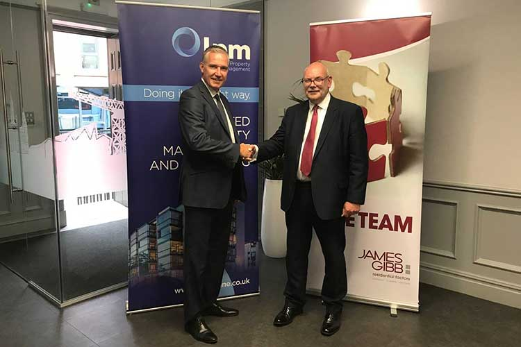 David Reid, owner and managing director of lpm with Douglas Weir, CEO of James Gibb