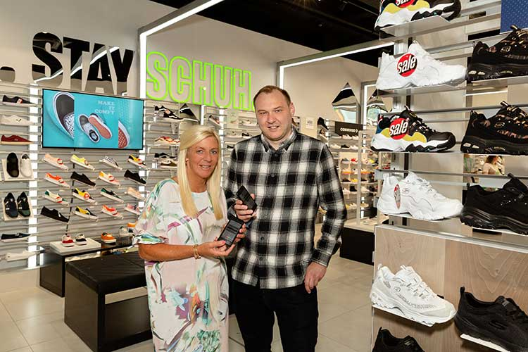 From left - Caroline Robertson of schuh with Michael Thomson, technical director at Opal