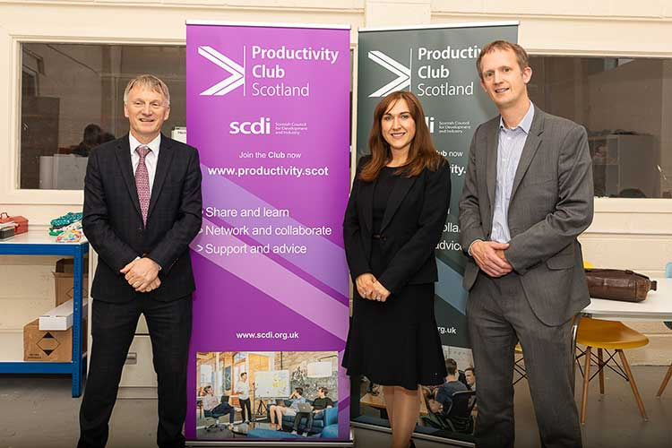 (from l to r): Ivan McKee MSP (Minister for Innovation), Ashleigh McCulloch (Programme Manager, Productivity Club Scotland) and Gareth Williams (Head of Policy, SCDI) at the launch of Productivity Club Scotland