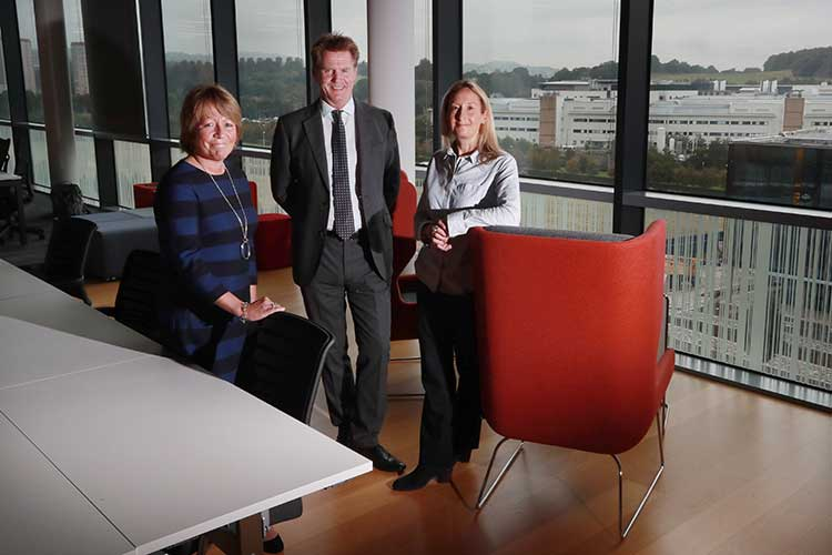 Left to right are Emma Chapman of CALCIVIS, Marshall Dallas of the EICC and Anna Stamp of Edinburgh BioQuarter (by Stewart Attwood)